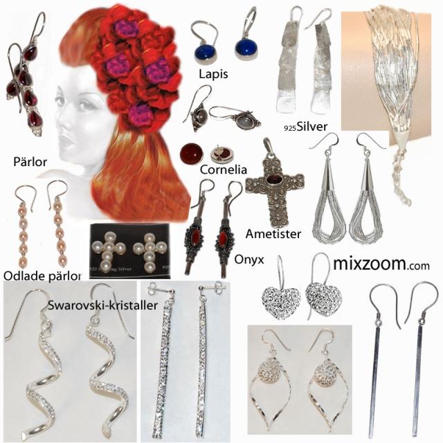 Smycken, Jewelry! Smycken! Örhängen, Hängen, Ringar, Armband, Armkedjor, Halsband av sterling silver, odlade pärlor, snäckor, ädelstenar...